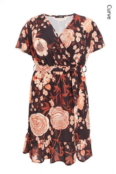 Curve Rust Floral Wrap Midi Dress